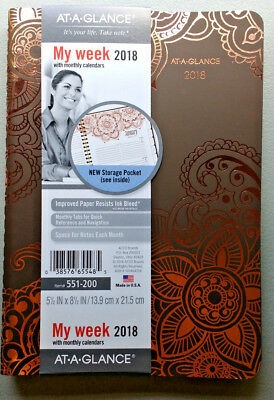 Unused 2018 Planner AT A GLANCE Weekly Monthly My Week Henna Gold Floral Tabbed