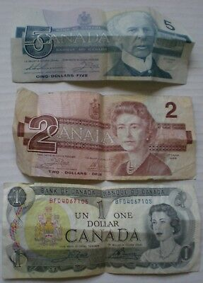 1986 Canada Bank Note 5 Dollars $2 $1 Lot Of 3 Banknotes Banque Du Canada