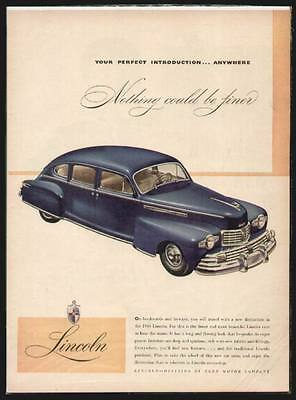 1946 Blue Lincoln 4-Door Sedan ad