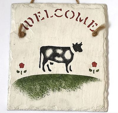 Handcrafted Artisan Stencil Hand Painted Cow Farm Welcome Slate Sign Plaque 5x5