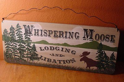 WHISPERING MOOSE LODGE Rustic Mountain Lake & Pine Forest Wood Cabin Sign Decor