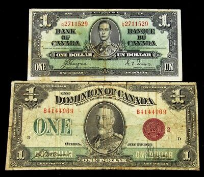 Pair of Canada $1 Notes -VG & F+- Series 1923 & 1937 - King George V & VI