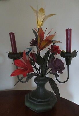 * Vintage Italian Tole Flower Arrangement In Vase * Metal Candle Holder * Lovely