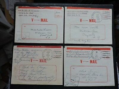LOT x10 WWII APO COVERS SOLDIER LETTERS V-MAIL ! WORLD WAR II MILITARY CENSOR +!