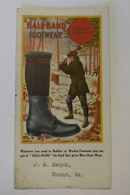 Vintage Ink blotter Advertising Ball-Band Footwear J.M Swink, Murat, VA