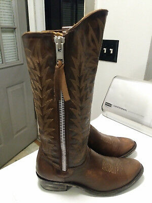 Womens Old Gringo Razz Full  Zip Distressed Leather Tall Cowboy Boots Sz 8.5