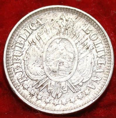 1900 PTS Bolivia 10 Centavos Silver Foreign Coin