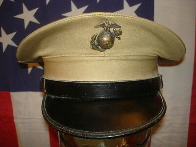 Wwii U.s. Marine Corps Barracks Cover [Visor Cap] Khaki, With E-G-A