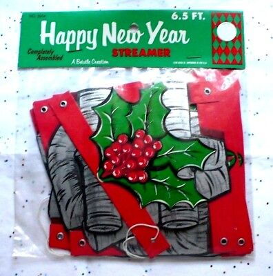 Vintage Beistle Rustic Style Happy New Year 6.5 Ft. Banner Nip