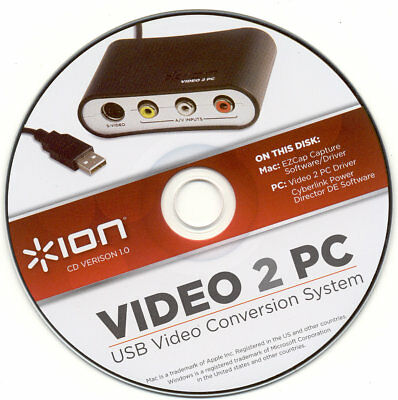 Ion Video 2 Pc Mkii Usb Converter With Manuals, Cords, Software