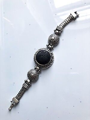 Natural Lava Rock Stone Essential Oil Diffuser Bracelet Silver Filigree Vintage