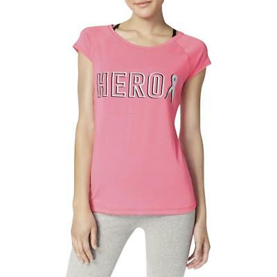 Ideology Womens BCRF Hero Pink Graphic Short Sleeves T-Shirt Top M BHFO 1830