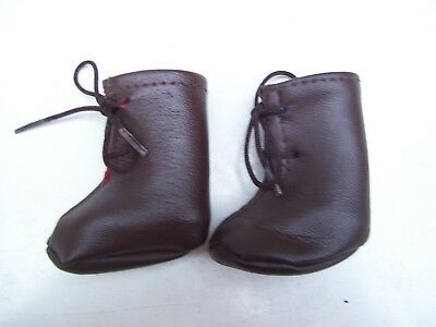 Alte Puppenkleidung Schuhe Vintage Brown Soft Boots Shoes 40 cm Doll 5 1/2 cm