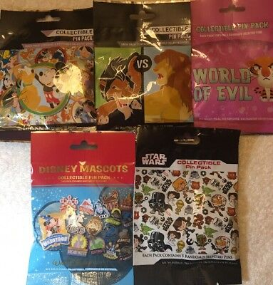 Disney Authentic 25 Pin Trading Lot Unopened Booster Packs Mixed
