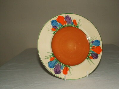 Clarice Cliff Art Deco Hand Painted Autumn Crocus Plate Truly  Stunning