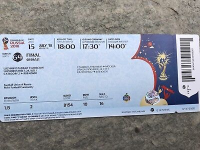 Biglietto Ticket Final Finale World Cup 2018 France Francia Croazia Croatia Topp