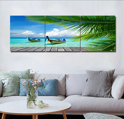 Canvas Prints Painting Picture Photo Home Decor Wall Art Landscape Blue Sea Palm