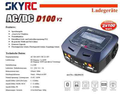 Robitronic SKYRC Ladegerät D100 V2 DUO 2x100 Multi Schnellladefunktion 1-6s Lipo