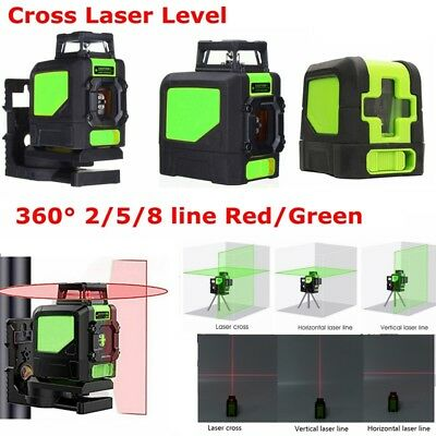 360° Laser Level Self-Levelling 2/5/8 Line Horizontal Vertical Cross Red/Green