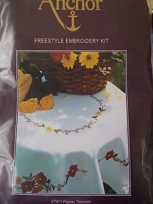 "Embroidery Kit Tablecloth "" Poppies Tablecloth "" New by Anchor 31.5"" x 31.5"""
