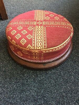Victorian Reupholstered Round Footstool Gold & Red