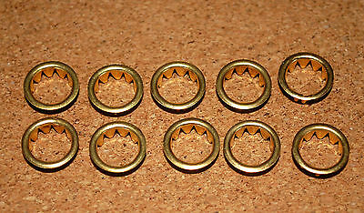 TEN BRASS CLOCKFACE / KEYHOLE  GROMMETS. FOR 10mm HOLE. FREE POSTAGE. BARGAIN!