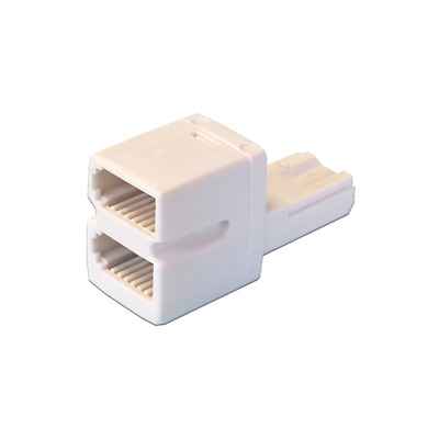 BT Telephone Phone Socket 2 way DOUBLE Adaptor Splitter - LOW PROFILE