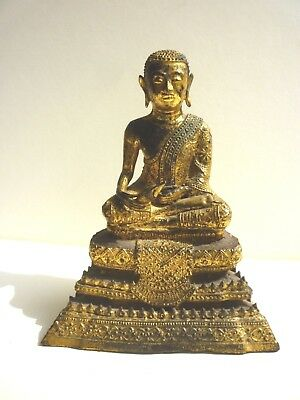 Thai Rattanakosin Gilt-lacquered Bronze Buddha Statue, 19th Cent. H.14.6cm