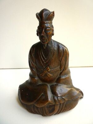 Japanese Edo period carved wood Sculpture of Poet, 18th Cent. Ex. UK Collection