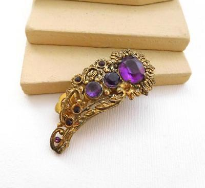 Vintage Antique Czech Amethyst Purple Glass Gold Tone Filigree Dress Clip VV27