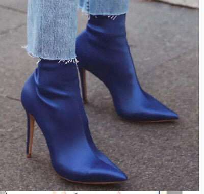 Womens Elastic British Pumps Pull On High Heel Stilettos Ankle Boots Shoes New