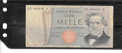 ITALY #101a 1969 1000 LIRE VG USED OLD BANKNOTE PAPER MONEY CURRENCY BILL NOTE