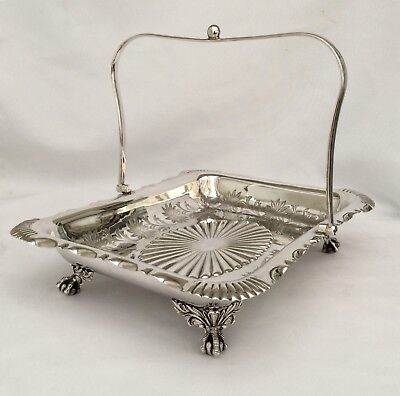 Superb Antique Victorian Chased Silver On Copper Footed Bread/ Cake Basket C1880