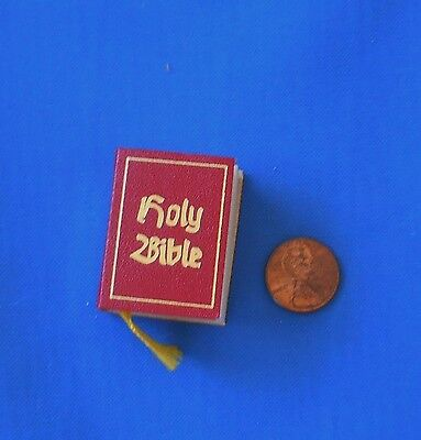 "Vintage Holy Bible - Dollhouse Miniature 1.5"" Red cover   274 pages"