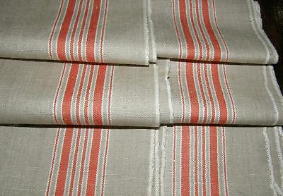 "MINT Linen Mangle Cloth Tablecloth Runner Tomato Red Stripe 35"" x 116"" 3.3 Yd M8"