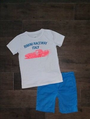 J CREW CREWCUTS Racing Tee Shirt Blue Shorts Sz 6-7