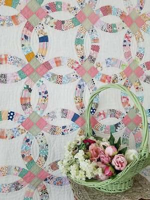 So Romantic! Pretty Vintage 30s Cottage Wedding Ring QUILT 87x74