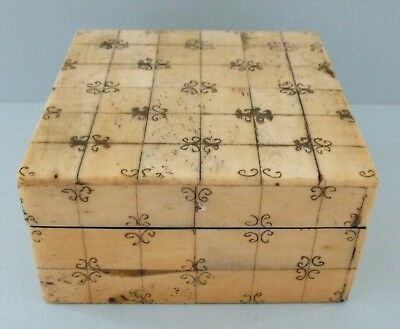 Vintage History Craft London Scrimshaw Style Trinket Box Jewellery Bone Resin
