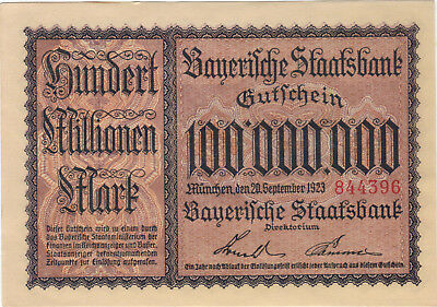1923 100 Million Mark Germany Currency Aunc German Banknote Note Bill Bayerische