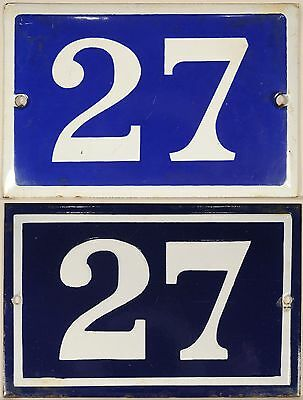 Old blue French house number 27 door gate wall fence street sign plate plaque