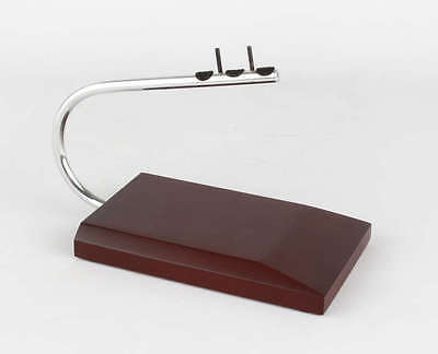 Executive Small Desk Top Display Model Airplane Wood ES Stand Round Metal Bar
