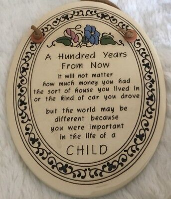 Trinity Pottery Oval Shaped Wall Plaque ~ A Hundred Years From Now ~ Hallmarked