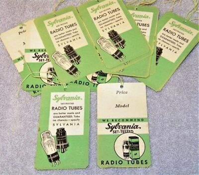 Rare Vintage Lot of Sylvania Radio Tubes Price Tags from Dealer Shop~15+ in Lot