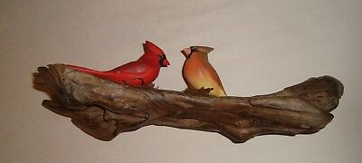 """WOOD CARVING  Male and Female Cardinals ON 11-3/4"""" Long Driftwood"""