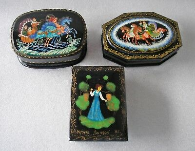 3 pretty vintage black lacquered Russian boxes Troikas & milkmaid all signed