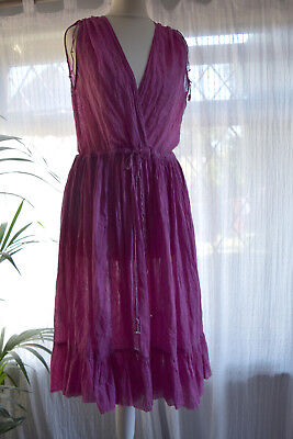 Vintage 1970s Fine Indian Gauze Cotton & Gold Embellished Hippy Dress With Bells
