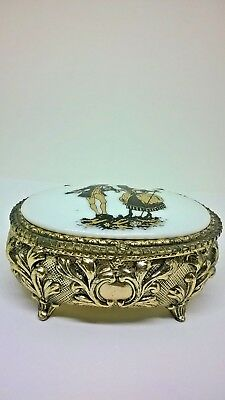 Vintage Gold Tone & Porcelain Trinket Box Made In Japan Red Velvet Lining