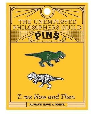 T-Rex Now and Then Fossil 2 pc Enamel Pin Set Brand New Pinbacks Buttons
