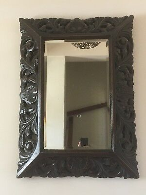 Victorian Antique Carved Oak Mirror Bevelled Frame And Glass