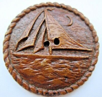 Awesome X LARGE Antique~ Vtg Carved Burwood Picture BUTTON Sailboat & MOON (M6)